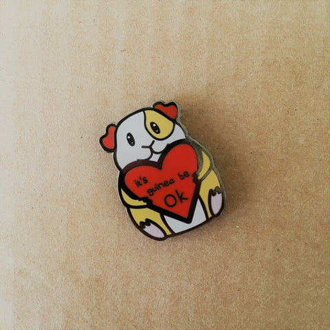 Positive Guinea Pig Enamel Pin | Gifts for Pet Lovers