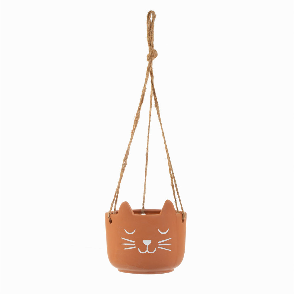 Hanging Terracotta Cat Planter | Purrfect Cat Lover Gifts