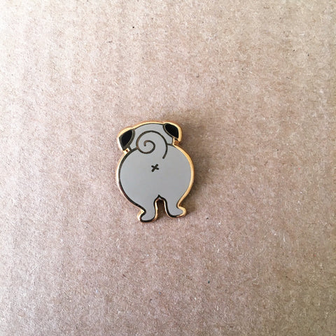 Butt Pug Enamel Pin | Funny Gifts for Pet Lovers | Pug Presents