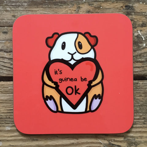 Positive Guinea Pig Coaster | Motivational Gifts for Animal Lovers