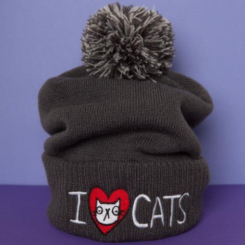 I Heart Cats Bobble Hat | Gifts for Cat Lovers