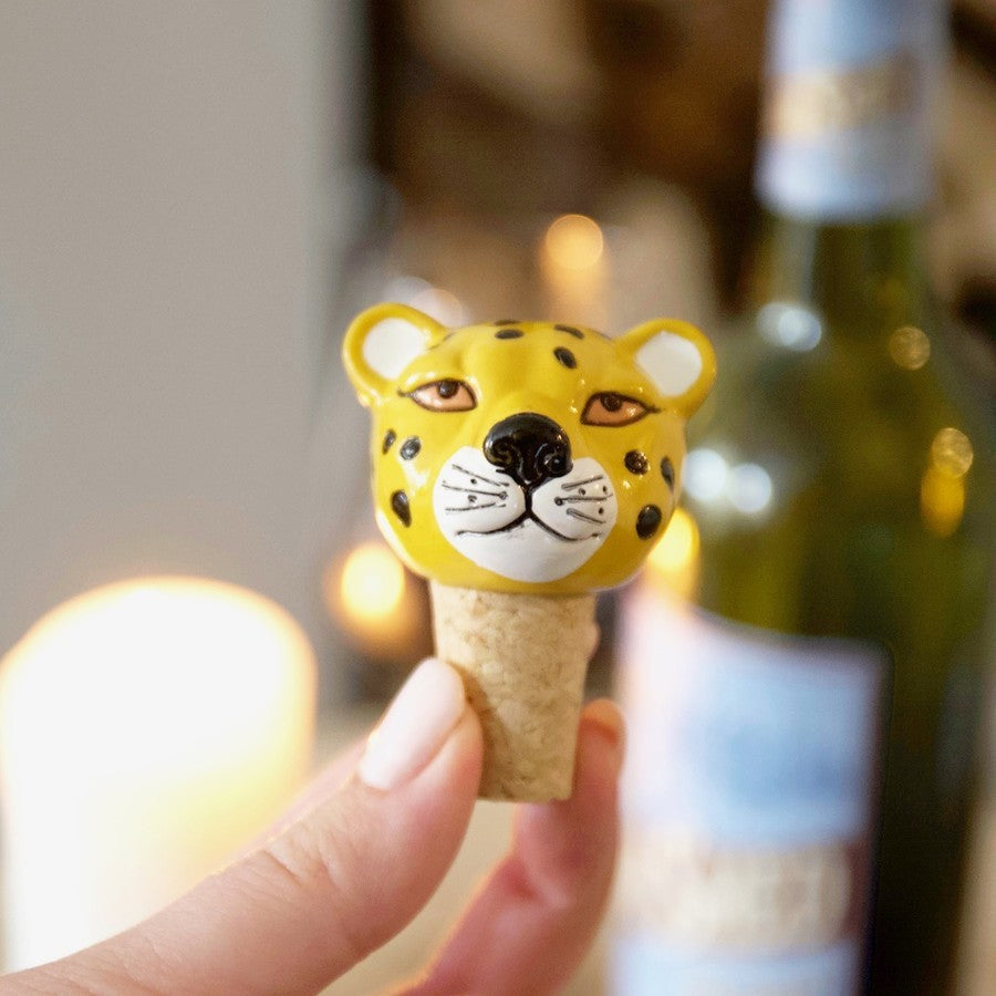 Leopard Bottle Stopper | Cat Themed Animal Homeware