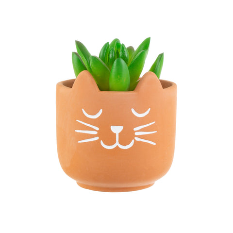 Mini Terracotta Cat Planter | Cat Themed Homeware Gifts
