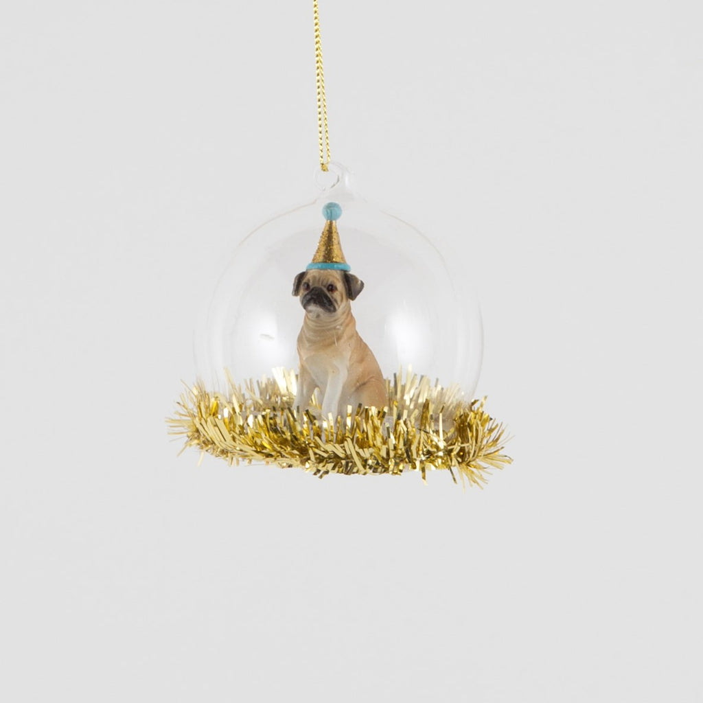 Party Pug Christmas Bauble