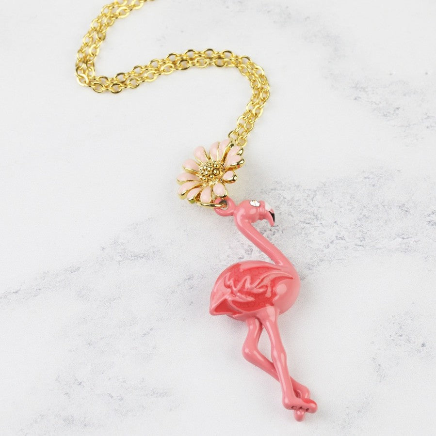 Flamingo Necklace with Daisy Detail | Gifts for Flamingo Lovers