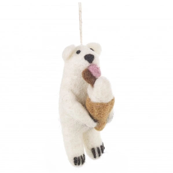 Polar Bear Eating Ice Cream Decoration | Christmas Tree Decorations