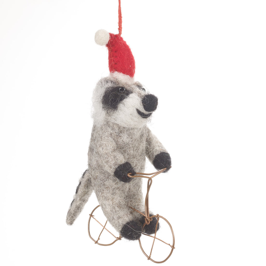Raccoon on a Bike Christmas Tree Decoration | Animal Decorations