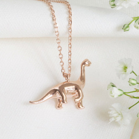 Rose Gold Diplodocus Dinosaur Necklace | Animal Themed Stocking Fillers