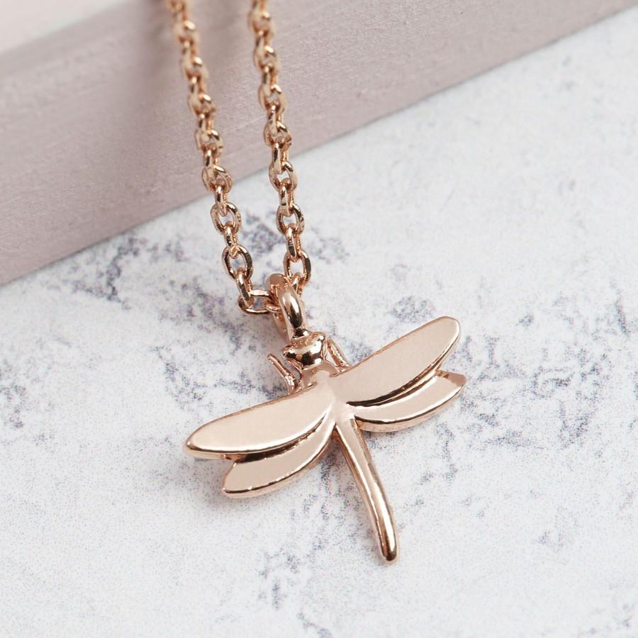 Rose Gold Dragonfly Necklace | Animal Jewellery Stocking Fillers