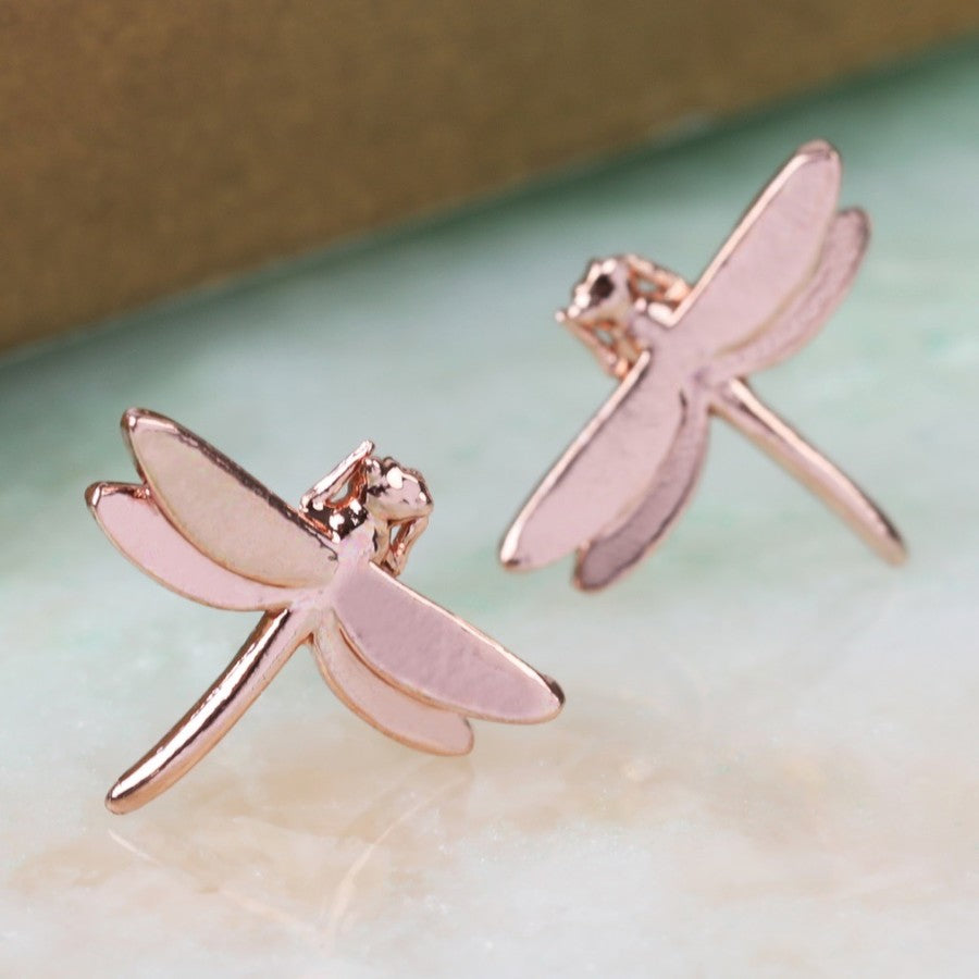 Rose Gold Dragonfly Earrings | Cute Animal Gifts