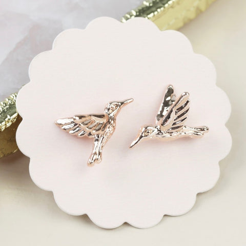 Rose Gold Hummingbird Stud Earrings | Gifts for Bird Lovers