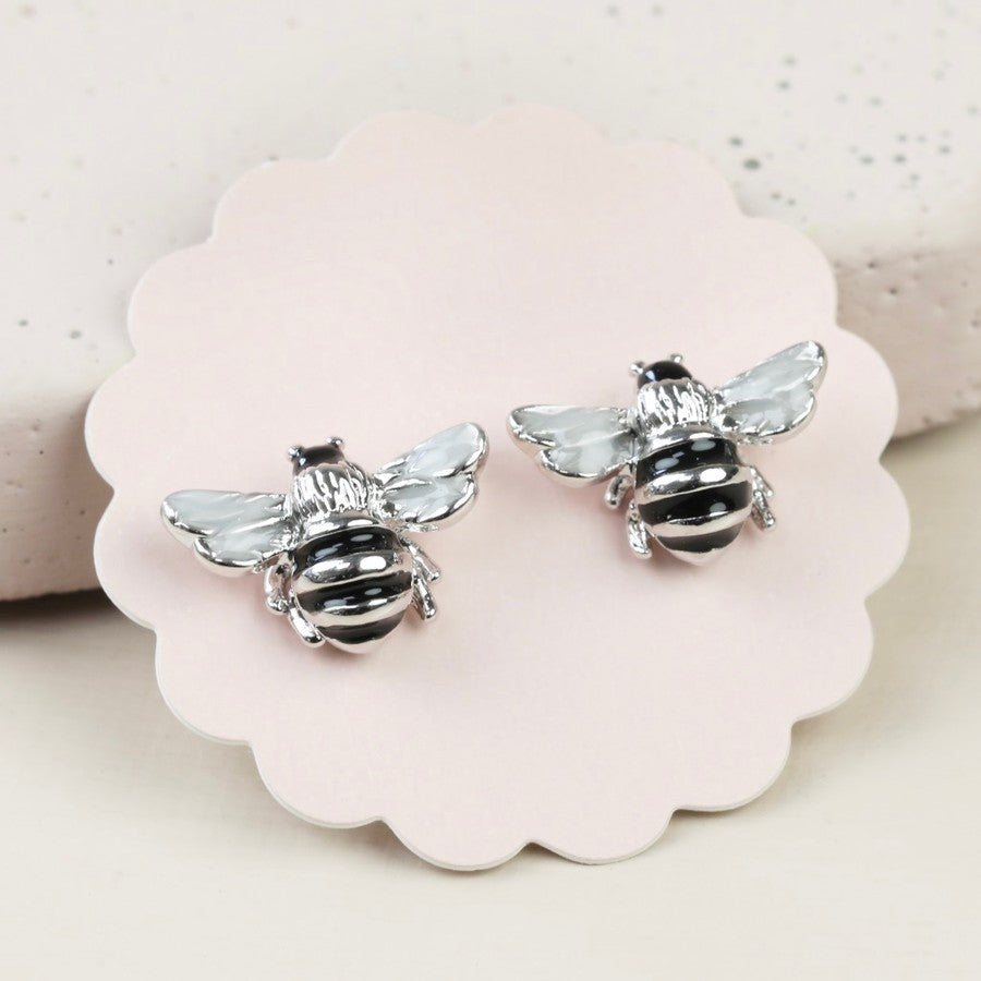 Silver Bumble Bee Stud Earrings | Beautiful Animal Themed Jewellery