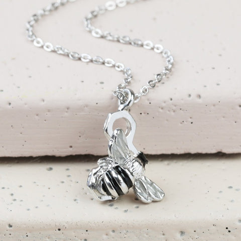 Bumble Bee Necklace in Silver | Animal Themed Stocking Fillers