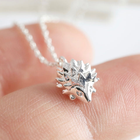 Silver Hedgehog Necklace Pendant | Animal Themed Jewellery