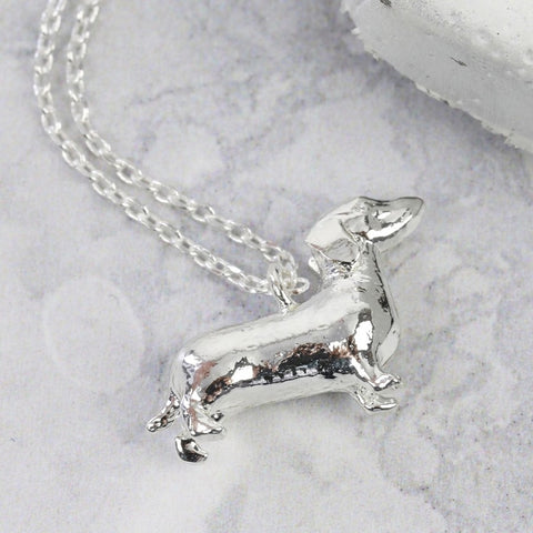 Silver Sausage Dog Necklace Pendant | Stocking FIllers for Dog Lovers