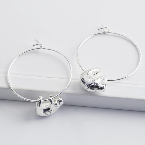 Silver Sloth Hoop Earrings | Quirky Jewellery at Gifts for Animal Lovers