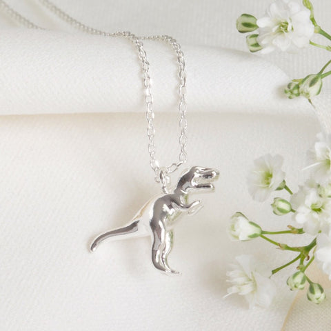 Silver T-Rex Dinosaur Necklace | Fun Jewellery Stocking FIllers