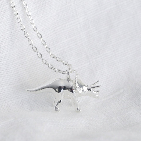 Silver Triceratops Dinosaur Necklace | Unique Animal Themed Jewellery