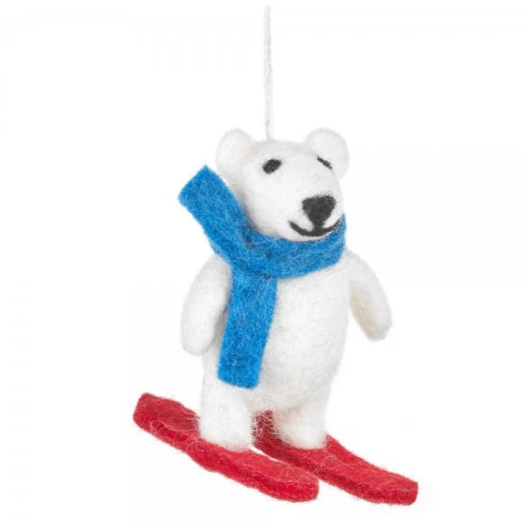 Skiing Polar Bear Decoration | Animal Christmas Tree Decorations