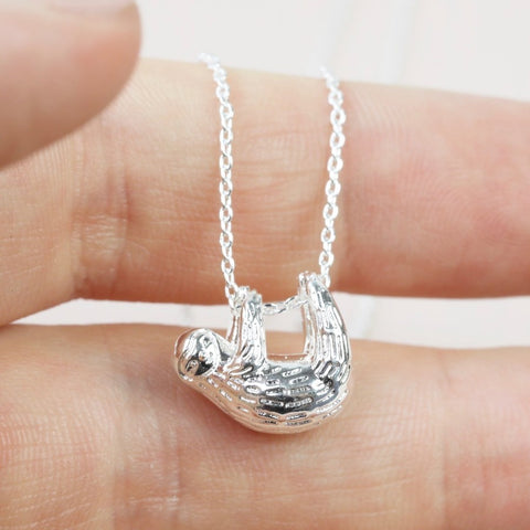 Silver Sloth Necklace Pendant | Sloth Lover Gifts and Jewellery