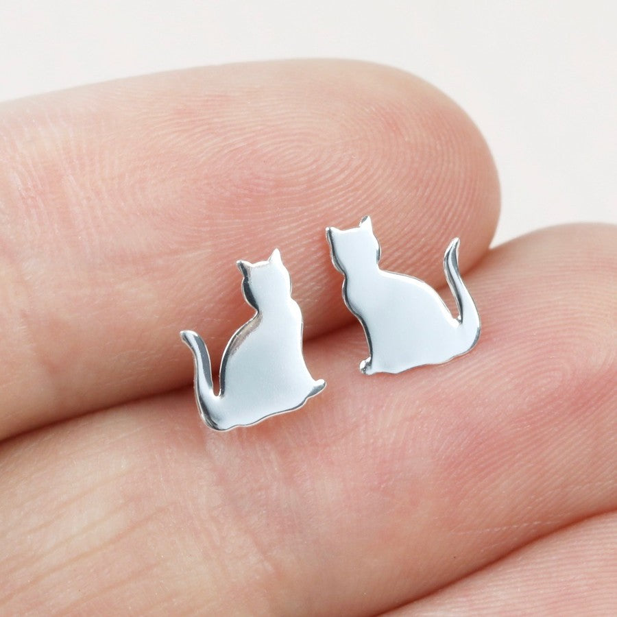 Sterling Silver Cat Earrings | Gifts for Cat Lovers