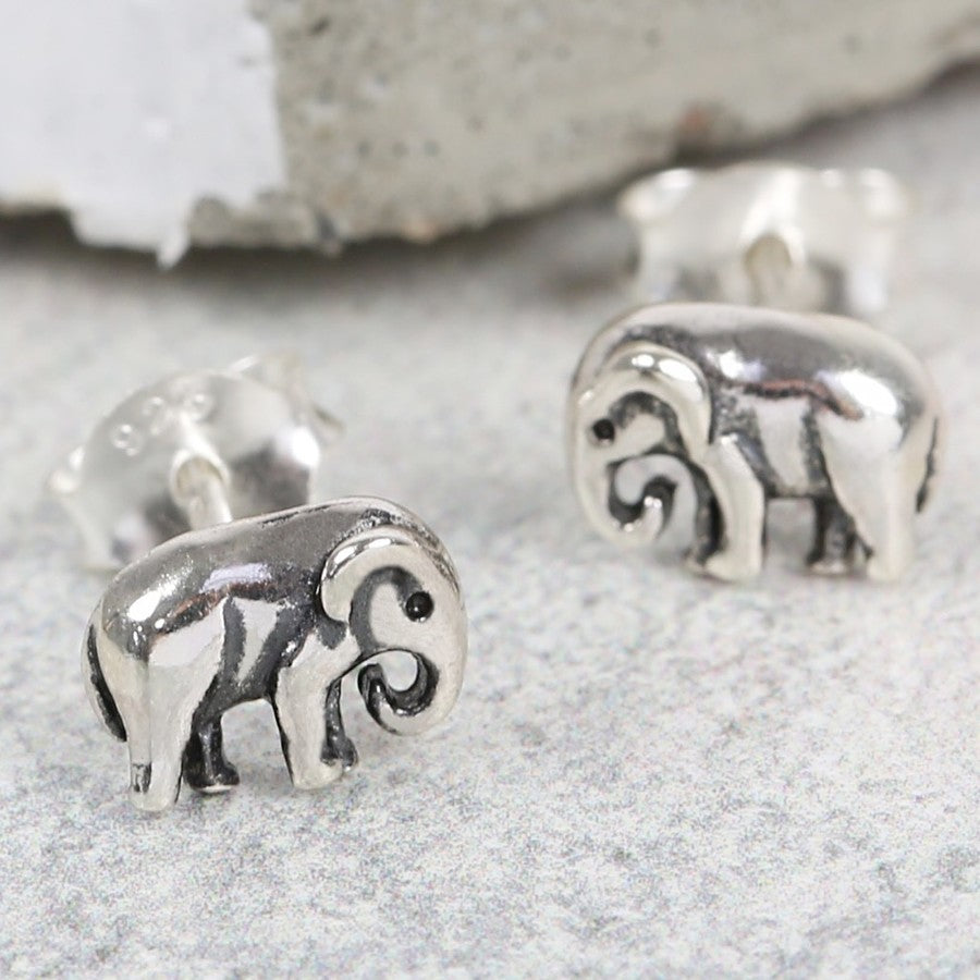 Sterling Silver Elephant Stud Earrings | Animal Accessories