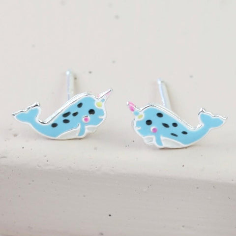 Sterling Silver Narwhal Earrings | Sea Creature Gifts