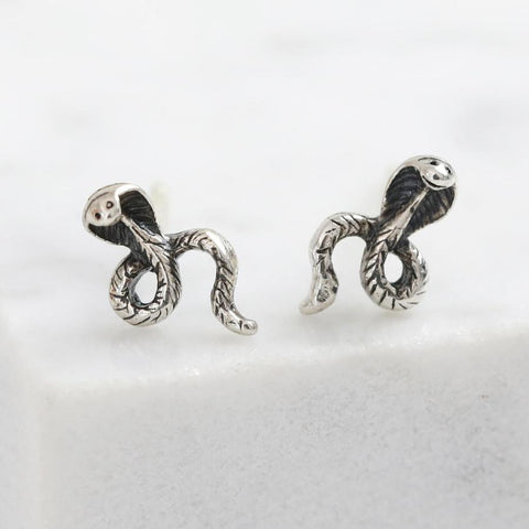 Sterling Silver Snake Stud Earrings | Gifts for Animal Lovers