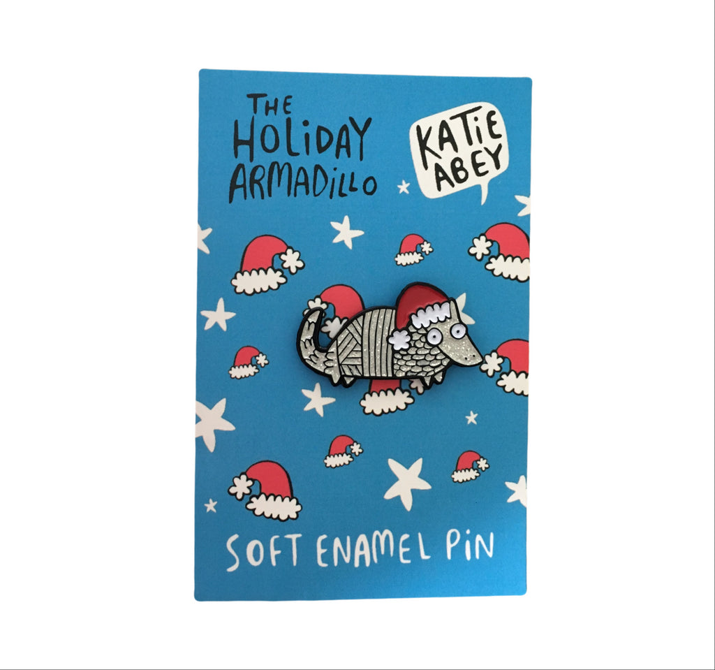 The Holiday Armadillo Enamel Pin | Animal Stocking Fillers