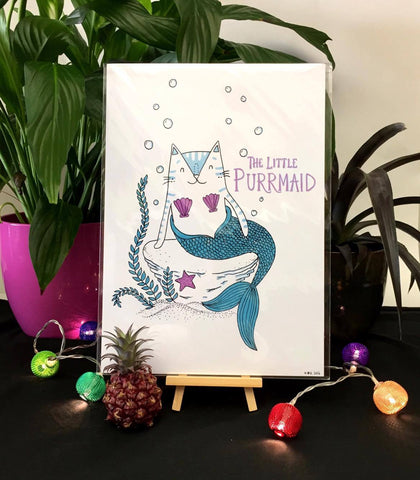 The Little Purrmaid Print | Gifts for Animal Lovers