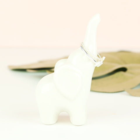 White Ceramic Elephant Ring Holder | Animal Homeware