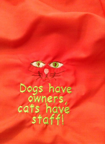 "NEW!  Handmade Cat Carrier - ""Dogs have owners, Cats have staff!"""