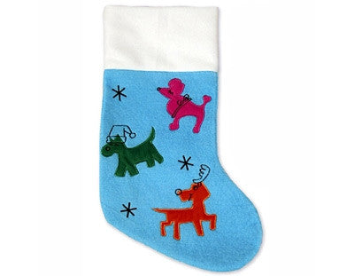 3 Dog Embroidered Stocking