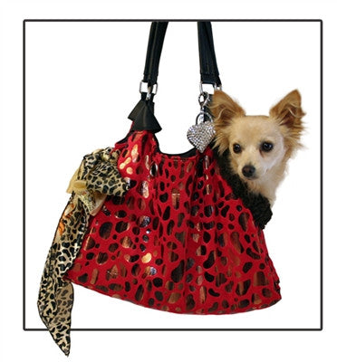 Red Berry with Animal Foil RunAround Pet Carrier Tote