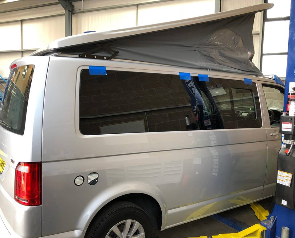Fitting the elevating roof to a T6 Volkswagen camper van