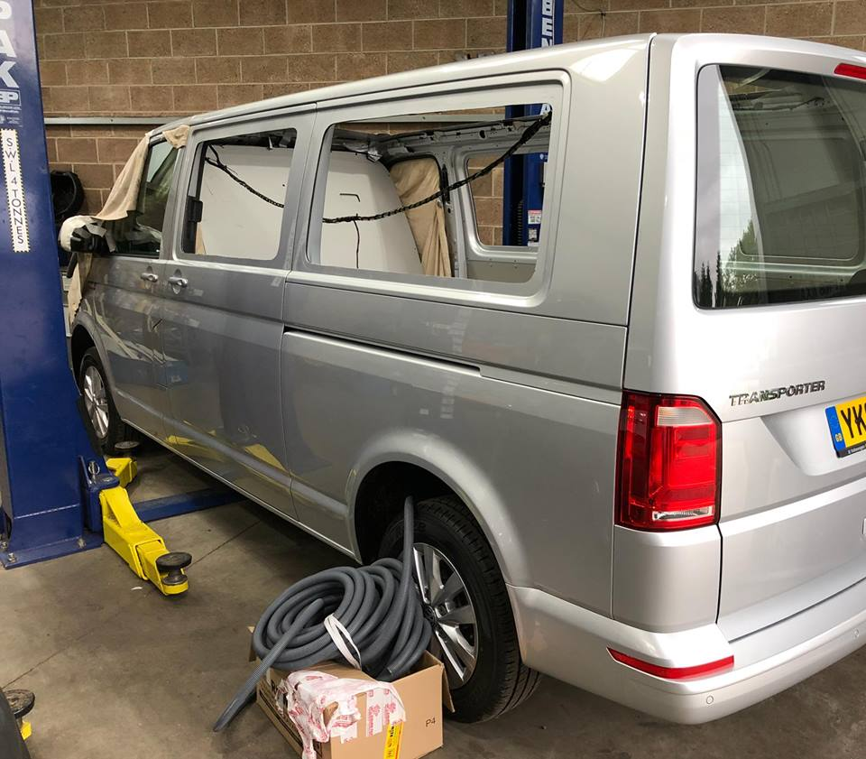 Preparing the window apertures on a VW T6 conversion