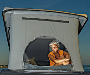 A camper sat in his roof conversion window