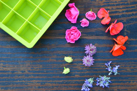 flowers and silicone ice cube tray
