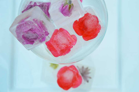 final floral ice cubes in a glass