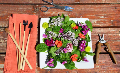 floral salad on table with tools