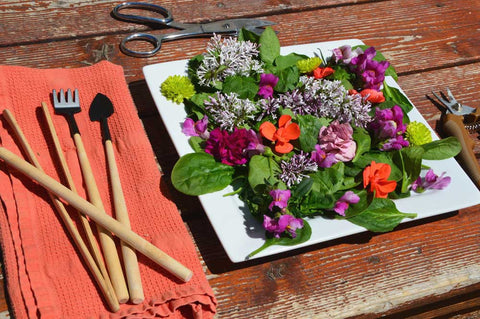 floral salad with tools