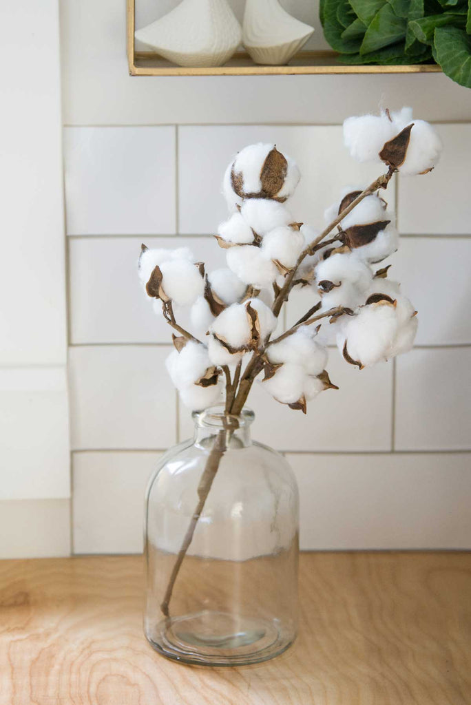 Faux Cotton Stem in Small Apothecary Bottle