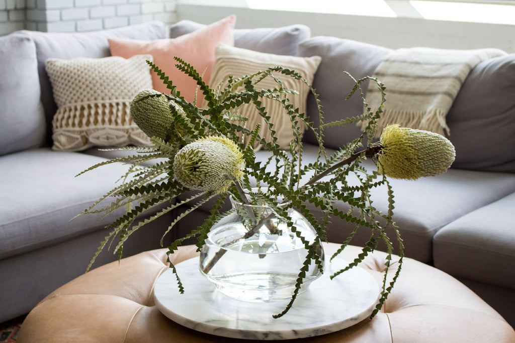banksia protea in glass container on ottoman
