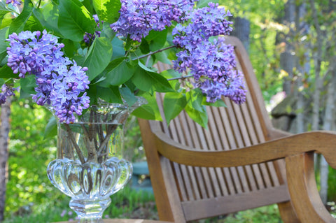 Lilacs in a vase next on a patio