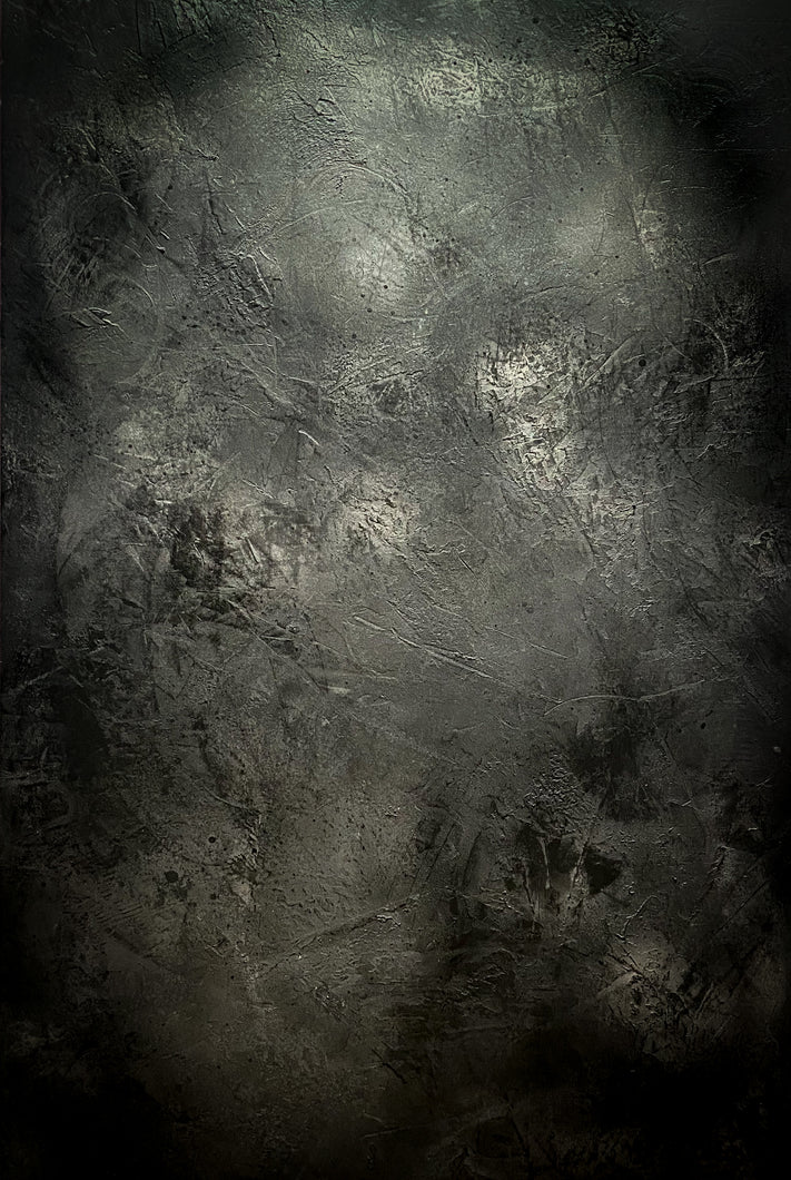 'Jet' Hand-painted photography background - dark grey/silver/black