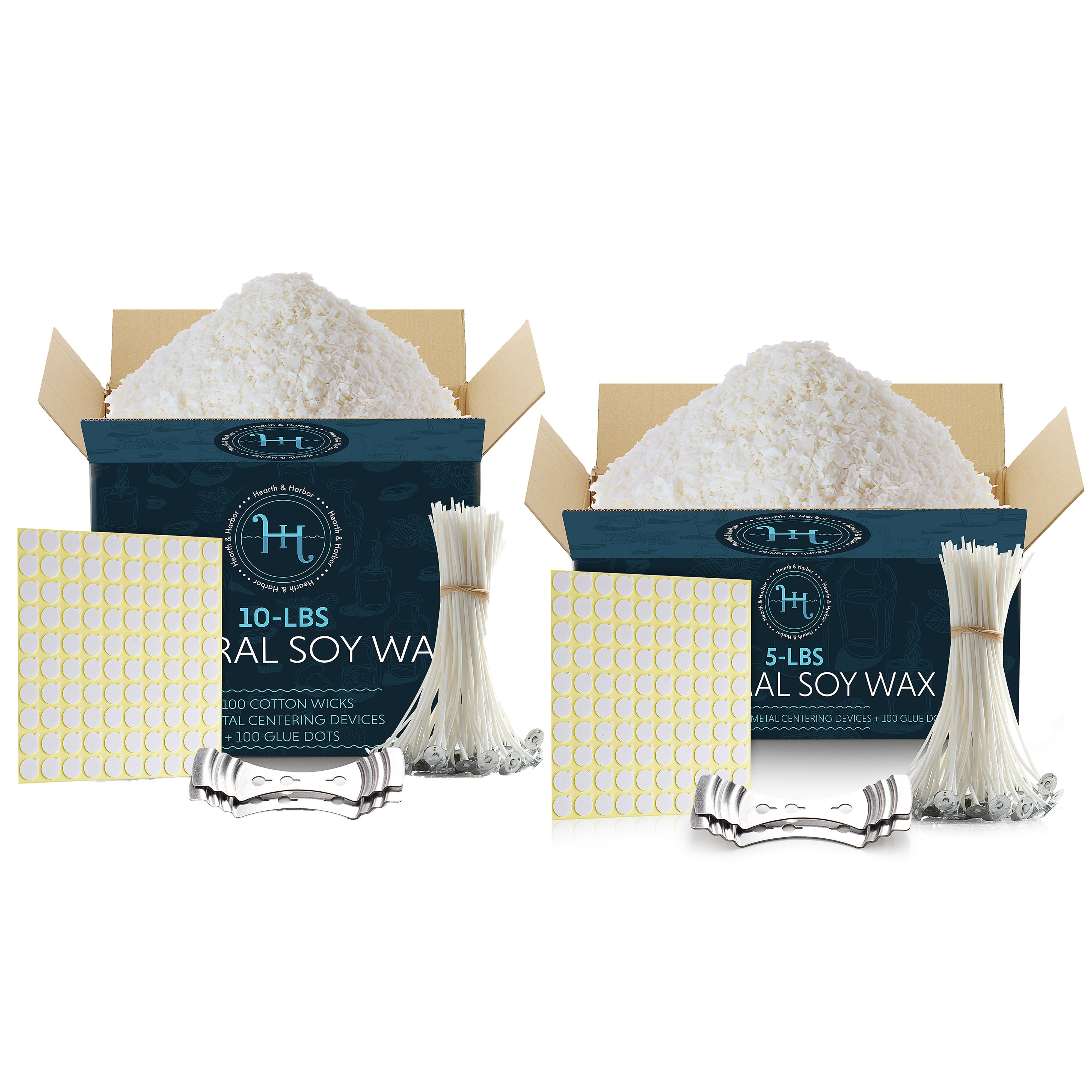 Hearth & Harbor Natural Soy Wax Kit for Candle Making – 5 & 10-Lbs Soy Candle Wax Flakes w/ 100 Cotton Wicks, 2 Metal Centering Devices & 100 Glue Dots – Candle Making Supplies for DIY Scented Candles