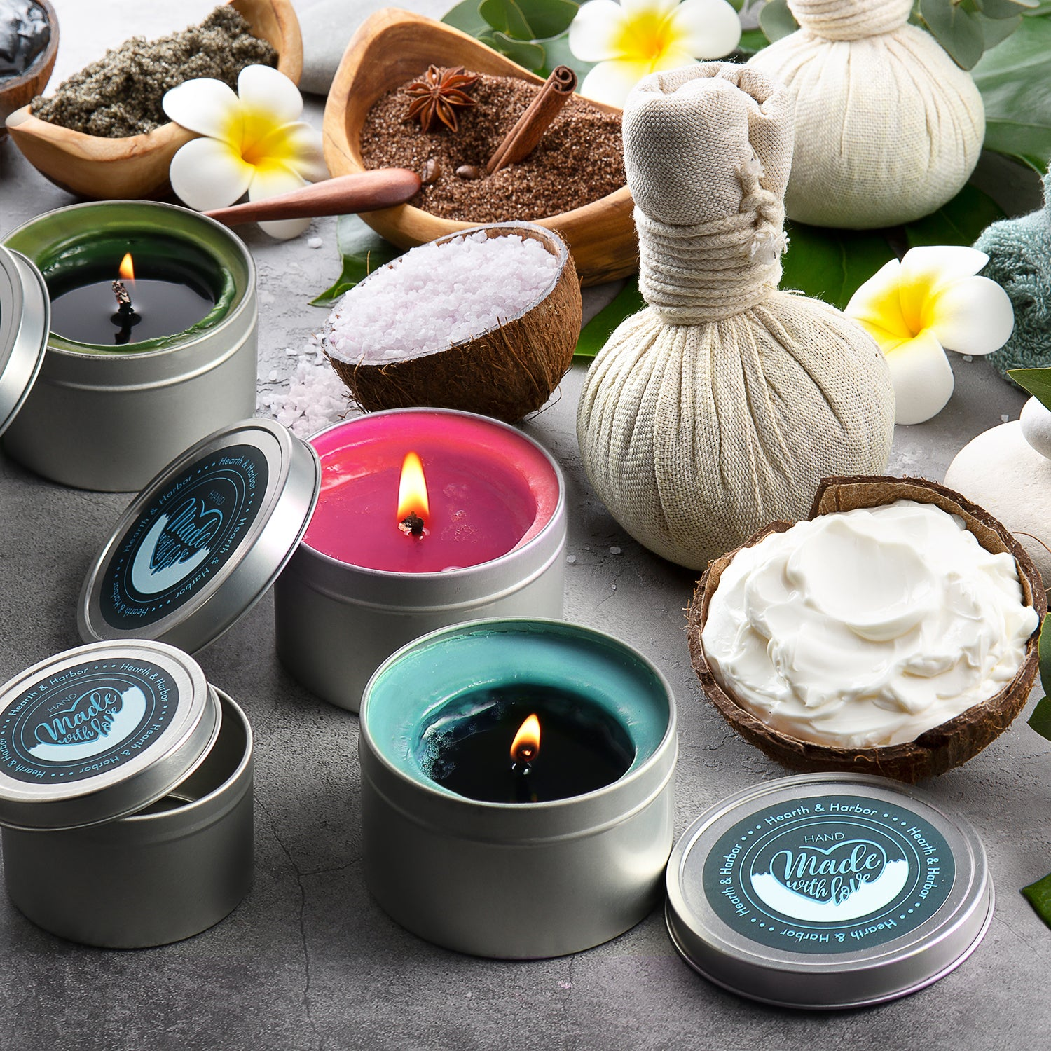 Hearth & Harbor Set of 12 pieces 4 Oz candle containers Custom stickers for lids
