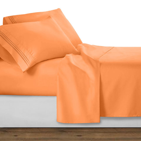 Clara Clark Bright Spring Colors 1800 Series Deep Pocket Premier Bed Sheet Set, Full - Apricot Buff Orange