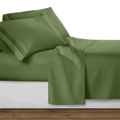 Clara Clark Bright Spring Colors 1800 Series Deep Pocket Premier Bed Sheet Set, King - Calla Green