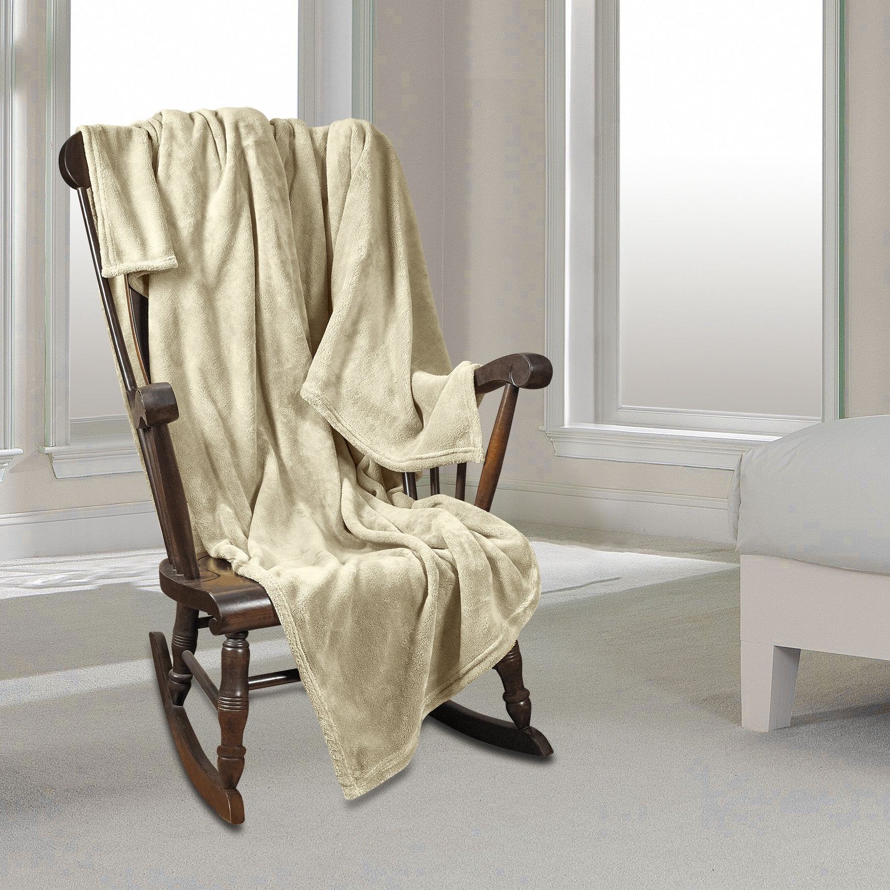 Clara Clark Micro Polar-Fleece Blanket, Cream